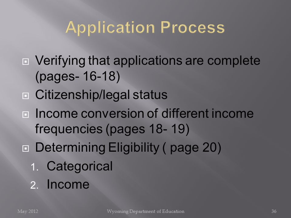  Verifying that applications are complete (pages- 16-18)  Citizenship/legal status  Income conversion of different income frequencies (pages 18- 19)  Determining Eligibility ( page 20) 1.