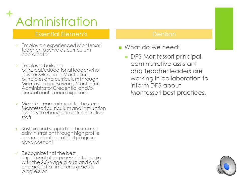 + Montessori Teachers Employ Montessori teachers who have Montessori credentials for the levels they teach.