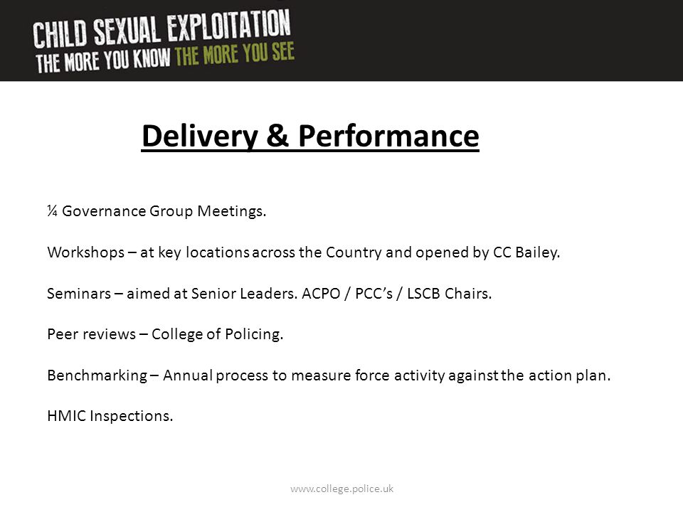 www.college.police.uk Delivery & Performance ¼ Governance Group Meetings. Workshops – at key locations across the Country and opened by CC Bailey. Sem
