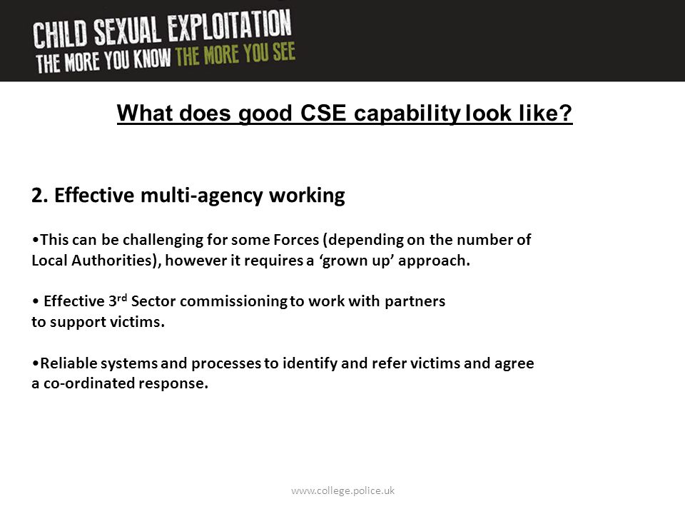 What does good CSE capability look like? 2. Effective multi-agency working This can be challenging for some Forces (depending on the number of Local A