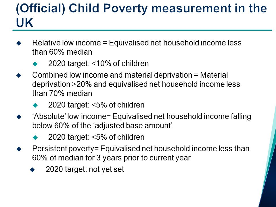  Sources:  OECD Growing unequal - every five years (sooner)  Luxembourg Income Study - every five years  EU SILC now annually  EU social inclusion indicators from SILC – child poverty key focus  At risk of poverty rate<40,50,60,70% of national median  At risk of poverty gap 60%  <60% anchored  Lacking 3+ (out of 9) deprivation items  Persistent – to be developed  Now 2020 target =<60% median or lacking 4+ deprivation items or workless  SILC 2009 includes special module on child poverty/well-being