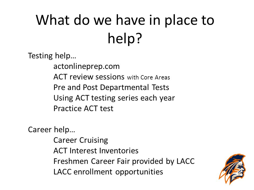 What do we have in place to help? Testing help… actonlineprep.com ACT review sessions with Core Areas Pre and Post Departmental Tests Using ACT testin