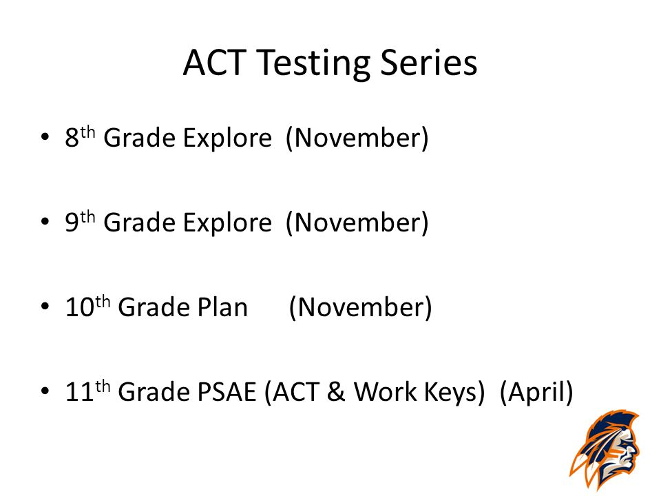 ACT Testing Series 8 th Grade Explore (November) 9 th Grade Explore (November) 10 th Grade Plan (November) 11 th Grade PSAE (ACT & Work Keys) (April)