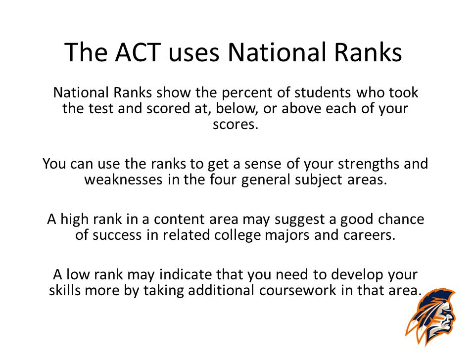 The ACT uses National Ranks National Ranks show the percent of students who took the test and scored at, below, or above each of your scores. You can