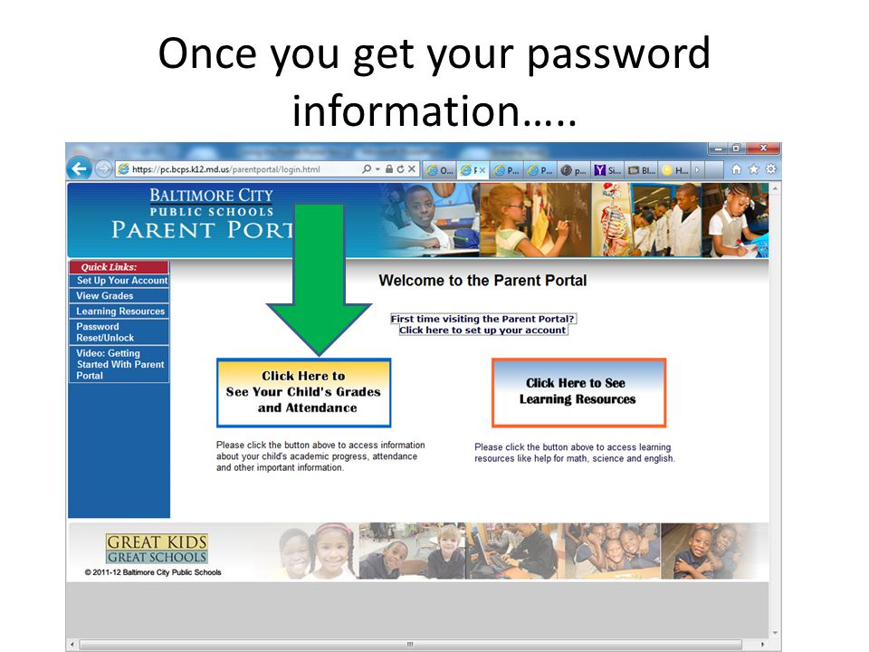 Once you get your password information…..