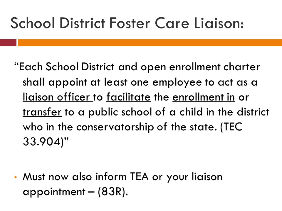 """School District Foster Care Liaison: """"Each School District and open enrollment charter shall appoint at least one employee to act as a liaison officer"""