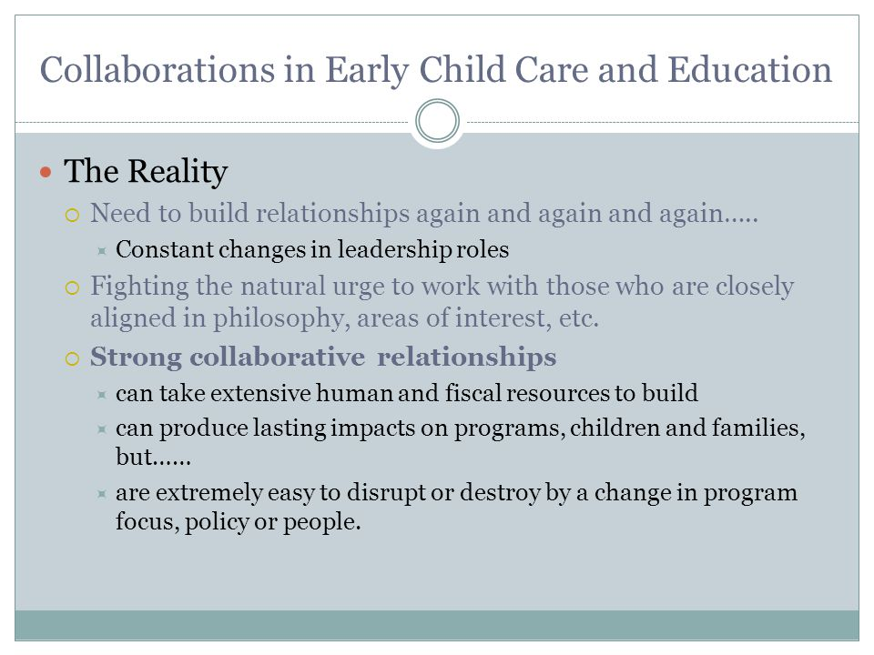 Collaborations in Early Child Care and Education