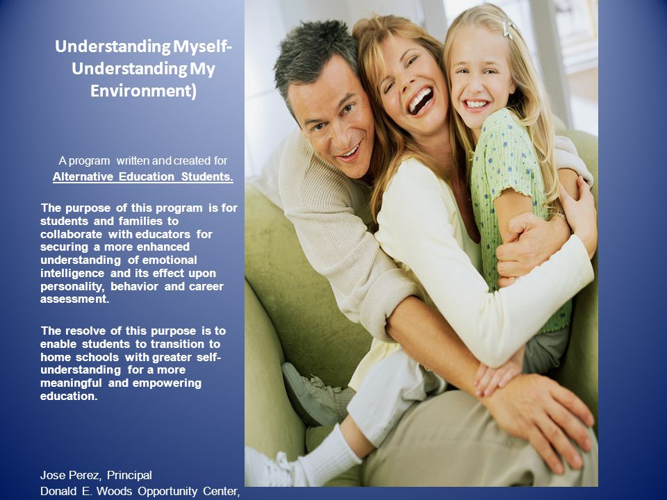Understanding Myself- Understanding My Environment) A program written and created for Alternative Education Students.