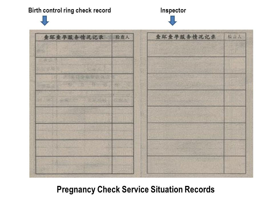 Birth control ring check recordInspector Pregnancy Check Service Situation Records
