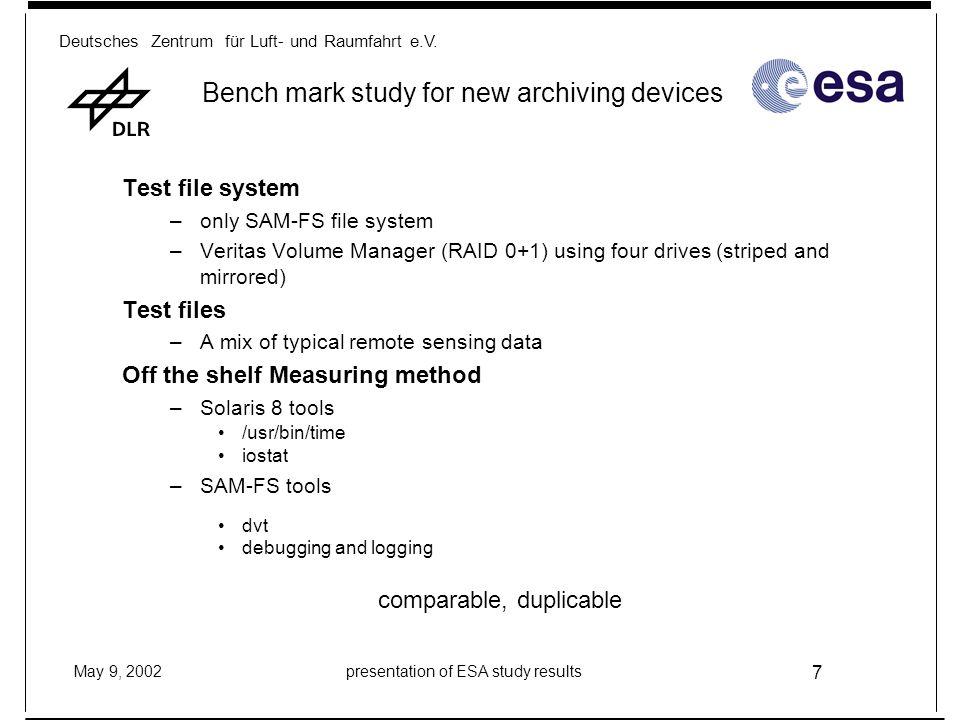 Deutsches Zentrum für Luft- und Raumfahrt e.V. May 9, 2002presentation of ESA study results 7 Bench mark study for new archiving devices Test file sys