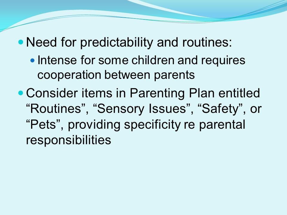 Need for predictability and routines: Intense for some children and requires cooperation between parents Consider items in Parenting Plan entitled Routines , Sensory Issues , Safety , or Pets , providing specificity re parental responsibilities