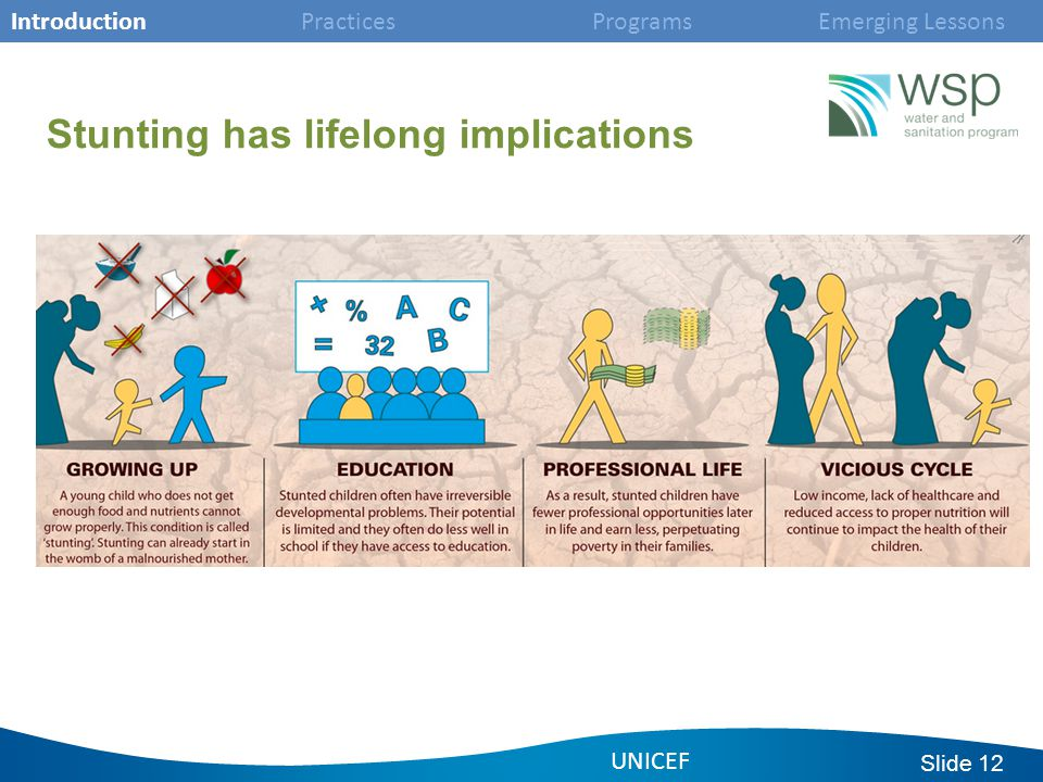 Slide 12 Stunting has lifelong implications UNICEF Introduction Practices Programs Emerging Lessons