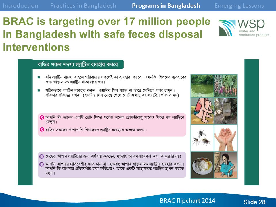 Slide 28 BRAC is targeting over 17 million people in Bangladesh with safe feces disposal interventions Introduction Practices in Bangladesh Programs in Bangladesh Emerging Lessons BRAC flipchart 2014