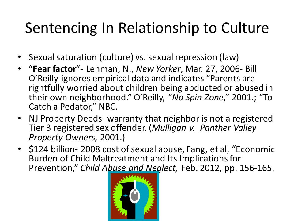 "Sentencing In Relationship to Culture Sexual saturation (culture) vs. sexual repression (law) ""Fear factor""- Lehman, N., New Yorker, Mar. 27, 2006- Bi"