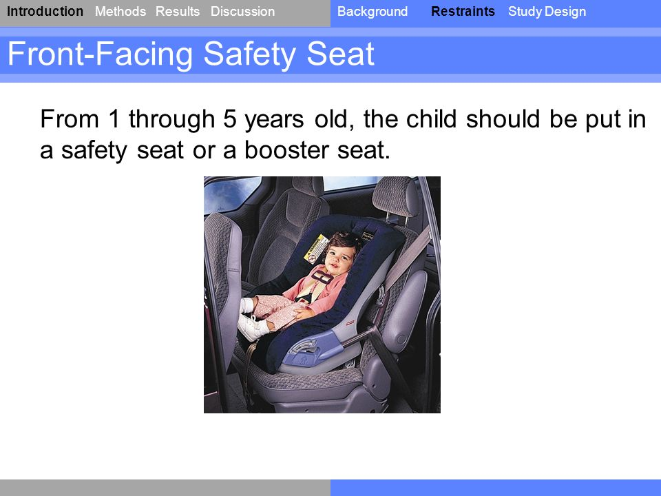IntroductionResultsDiscussionBackgroundRestraintsStudy DesignMethods Front-Facing Safety Seat From 1 through 5 years old, the child should be put in a safety seat or a booster seat.