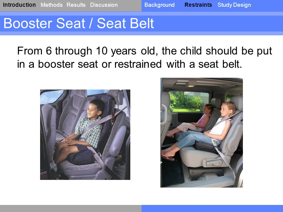 IntroductionResultsDiscussionBackgroundRestraintsStudy DesignMethods Booster Seat / Seat Belt From 6 through 10 years old, the child should be put in a booster seat or restrained with a seat belt.