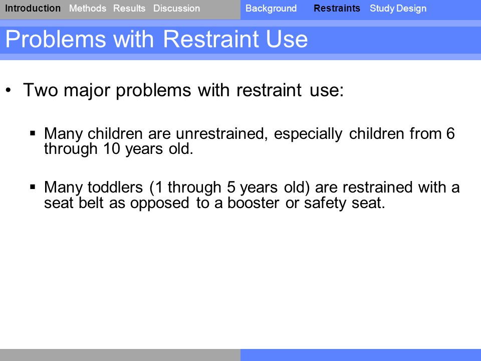 IntroductionResultsDiscussionBackgroundRestraintsStudy DesignMethods Two major problems with restraint use:  Many children are unrestrained, especial