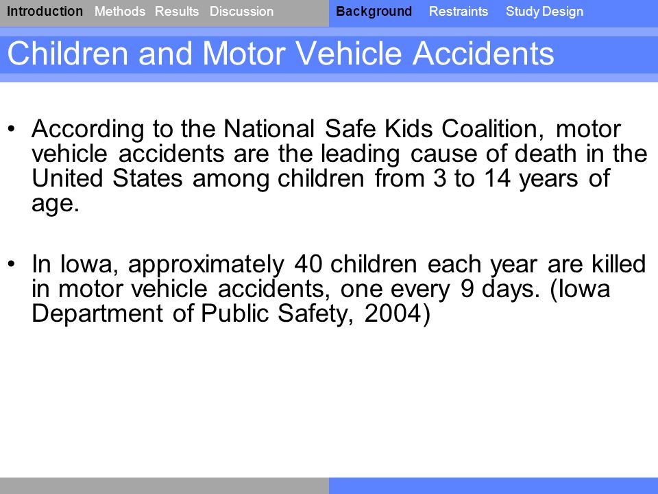 IntroductionResultsDiscussionBackgroundRestraintsStudy DesignMethods Children and Motor Vehicle Accidents According to the National Safe Kids Coalitio