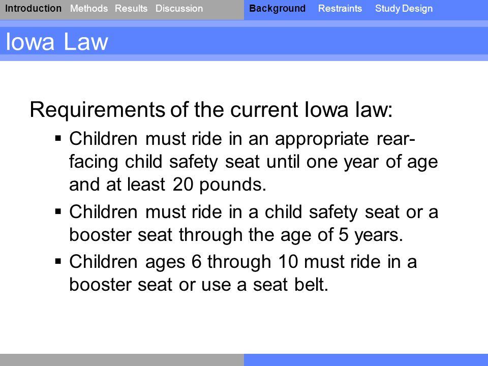 IntroductionResultsDiscussionBackgroundRestraintsStudy DesignMethods Iowa Law Requirements of the current Iowa law:  Children must ride in an appropriate rear- facing child safety seat until one year of age and at least 20 pounds.