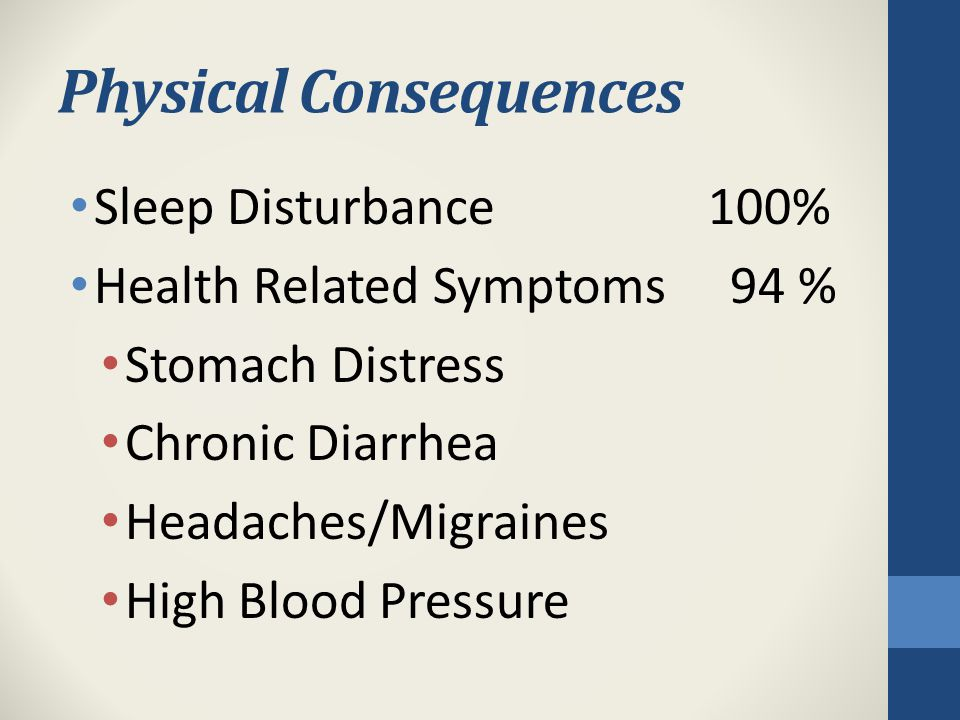 Physical Consequences Sleep Disturbance 100% Health Related Symptoms94 % Stomach Distress Chronic Diarrhea Headaches/Migraines High Blood Pressure