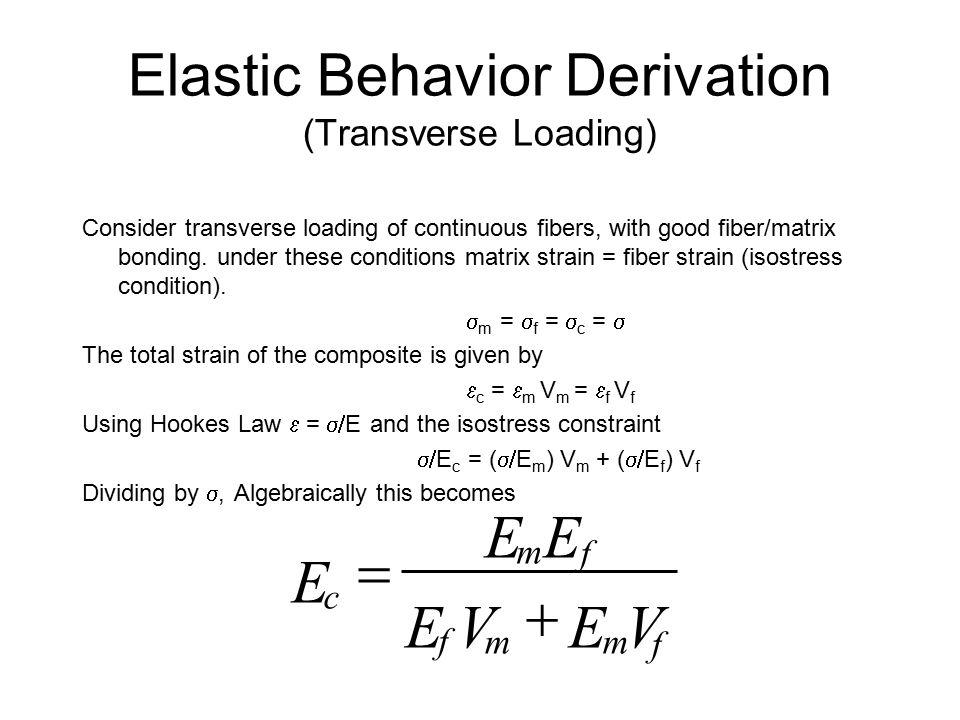 Elastic Behavior Derivation (Longitudinal Loading) Consider longitudinal loading of continuous fibers, with good fiber/matrix bonding. under these con