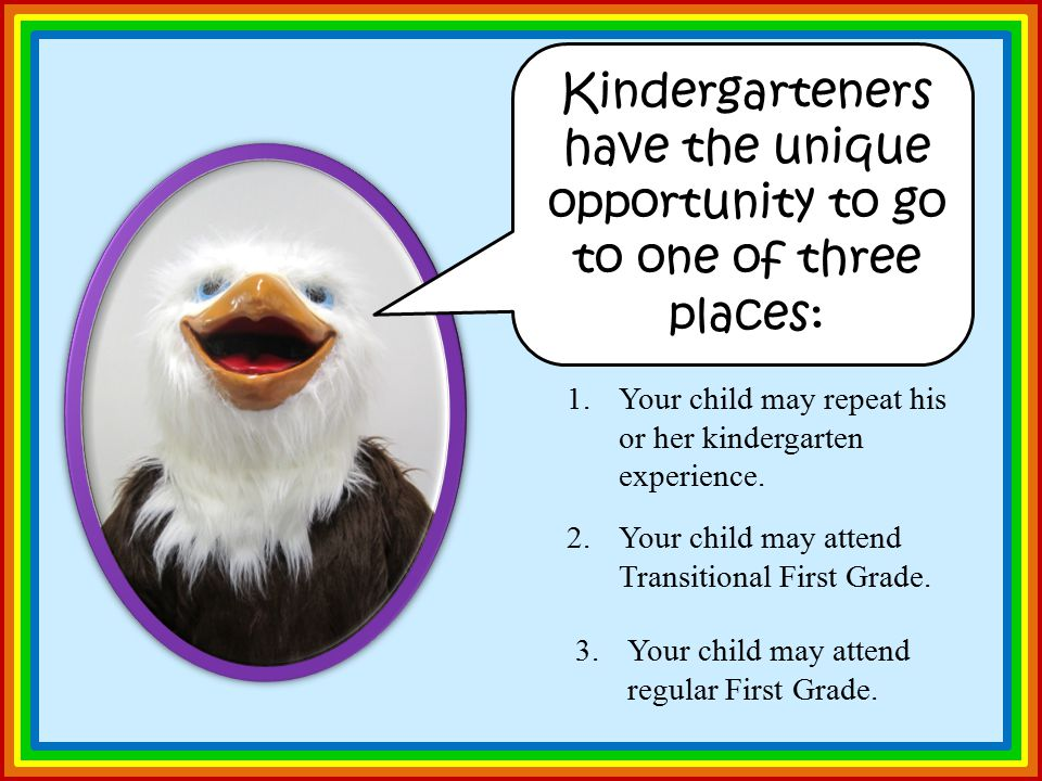 Kindergarteners have the unique opportunity to go to one of three places: 1.Your child may repeat his or her kindergarten experience.