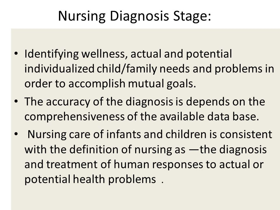 Nursing Diagnosis Stage: Stage: Identifying wellness, actual and potential individualized child/family needs and problems in order to accomplish mutua