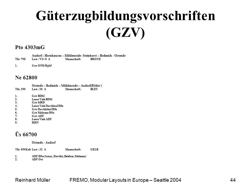 Reinhard MüllerFREMO, Modular Layouts in Europe – Seattle 200444 Güterzugbildungsvorschriften (GZV) Pto 4303mG Audorf – Hornhausen – Mühlenrade -Stein