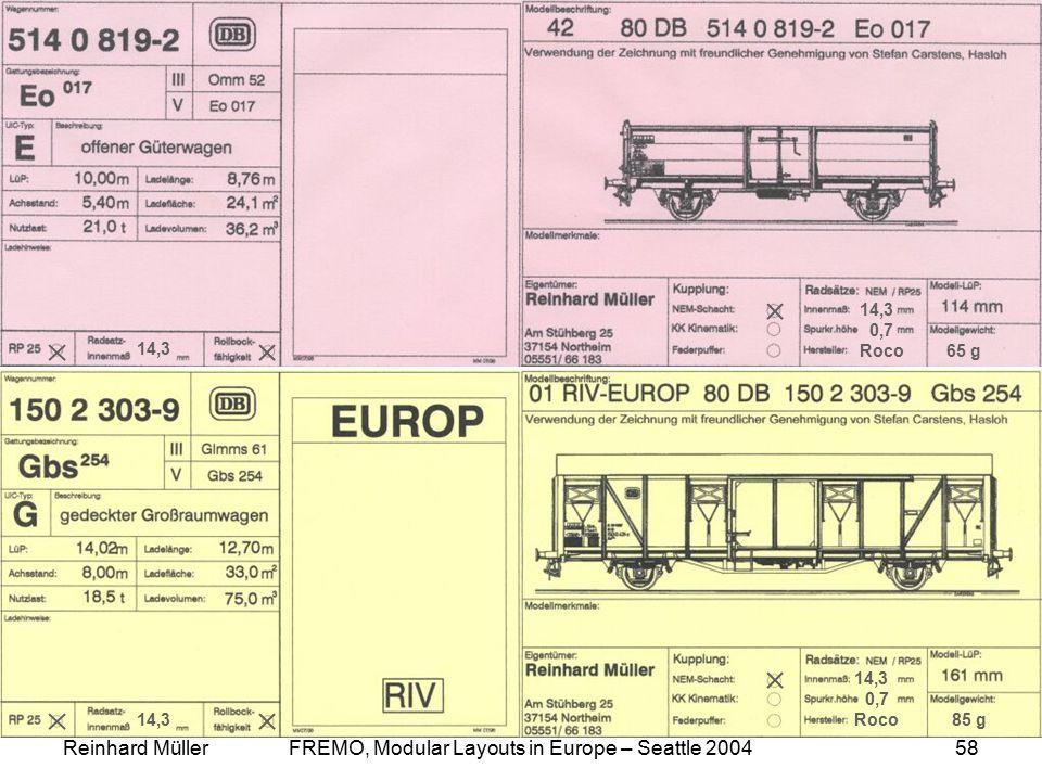 Reinhard MüllerFREMO, Modular Layouts in Europe – Seattle 200458 Car Cards 14,3 0,7 Roco 65 g 85 g