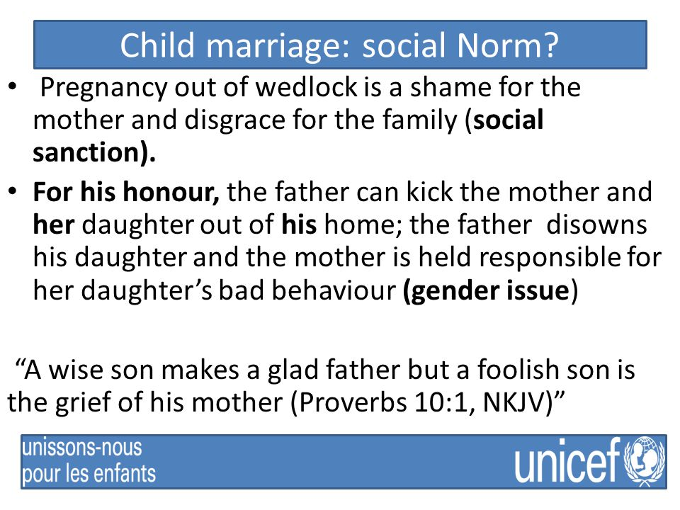 Child marriage: social Norm.