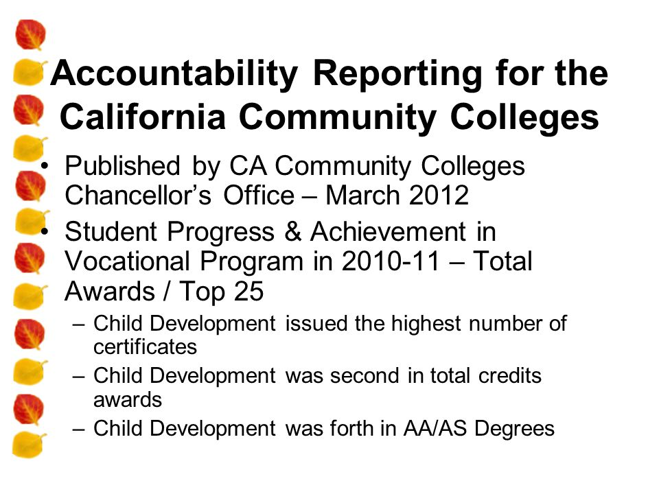 Accountability Reporting for the California Community Colleges Published by CA Community Colleges Chancellor's Office – March 2012 Student Progress & Achievement in Vocational Program in 2010-11 – Total Awards / Top 25 –Child Development issued the highest number of certificates –Child Development was second in total credits awards –Child Development was forth in AA/AS Degrees