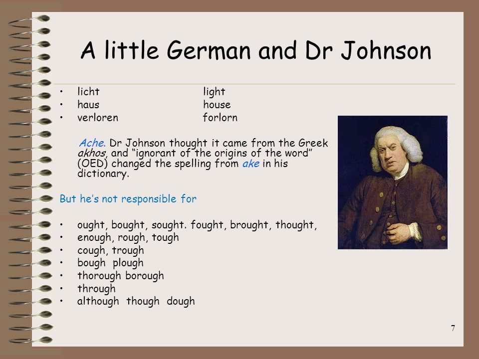 """A little German and Dr Johnson licht light haus house verloren forlorn Ache. Dr Johnson thought it came from the Greek akhos, and """"ignorant of the ori"""