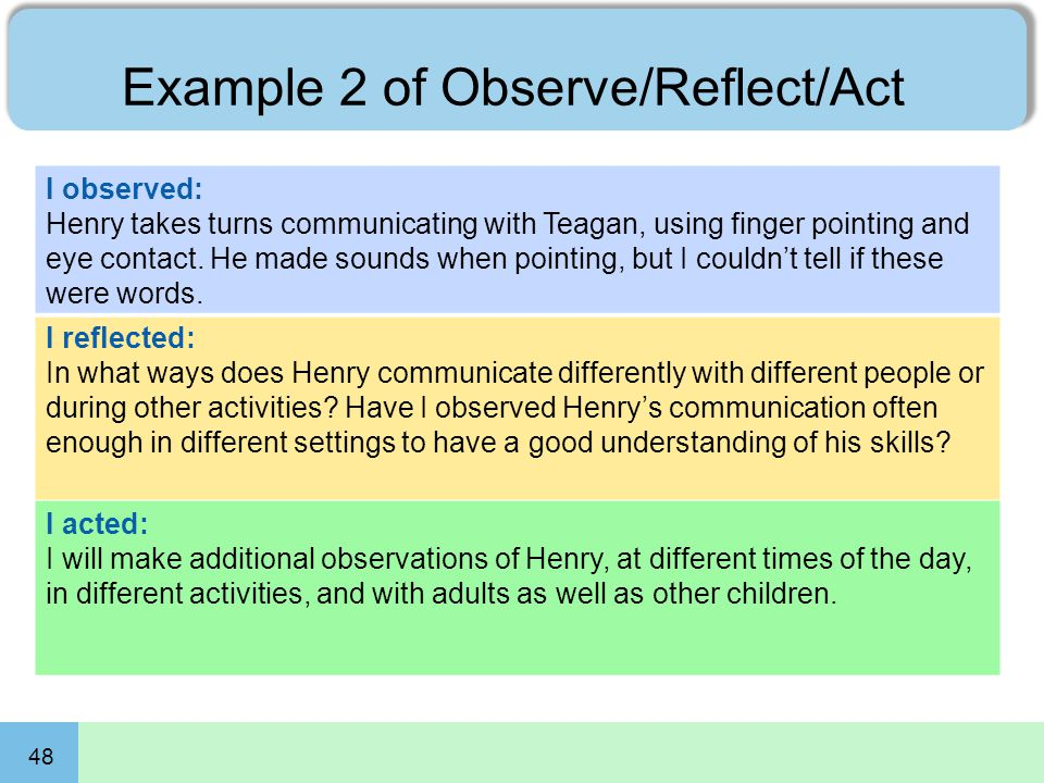Example 2 of Observe/Reflect/Act 48 I observed: Henry takes turns communicating with Teagan, using finger pointing and eye contact. He made sounds whe