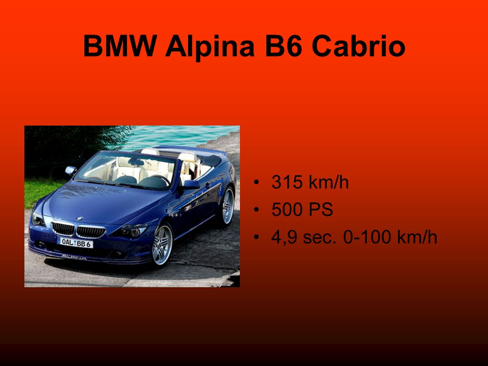 BMW Alpina B6 Cabrio 315 km/h 500 PS 4,9 sec. 0-100 km/h