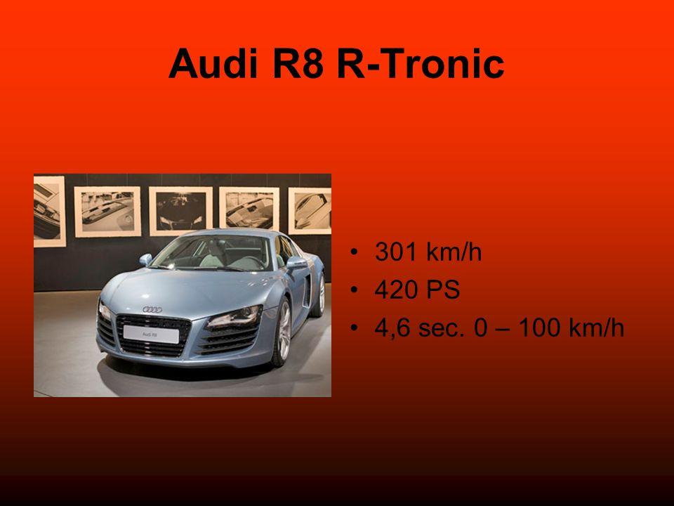 Audi R8 R-Tronic 301 km/h 420 PS 4,6 sec. 0 – 100 km/h