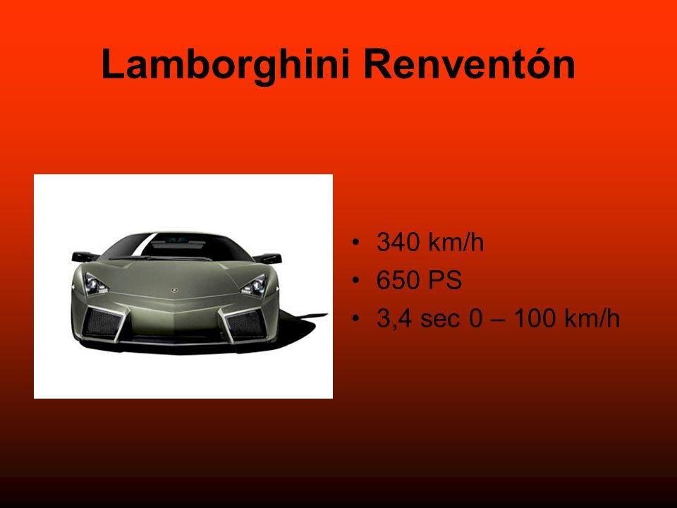 Lamborghini Renventón 340 km/h 650 PS 3,4 sec 0 – 100 km/h