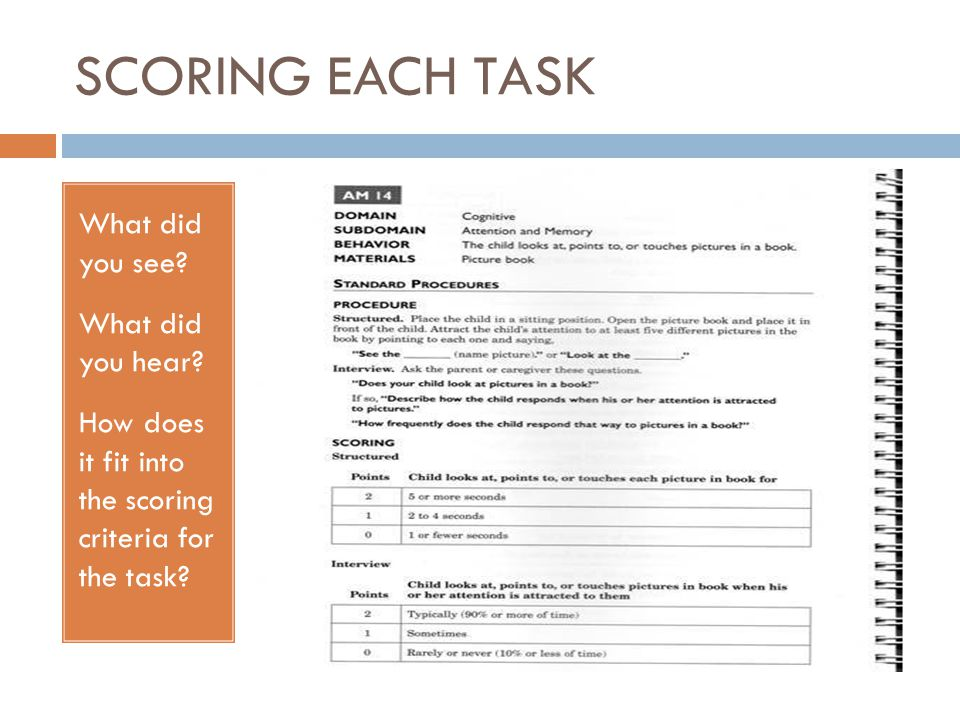 SCORING EACH TASK What did you see? What did you hear? How does it fit into the scoring criteria for the task?