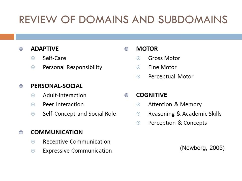 REVIEW OF DOMAINS AND SUBDOMAINS  ADAPTIVE  Self-Care  Personal Responsibility  PERSONAL-SOCIAL  Adult-Interaction  Peer Interaction  Self-Concept and Social Role  COMMUNICATION  Receptive Communication  Expressive Communication  MOTOR  Gross Motor  Fine Motor  Perceptual Motor  COGNITIVE  Attention & Memory  Reasoning & Academic Skills  Perception & Concepts (Newborg, 2005)