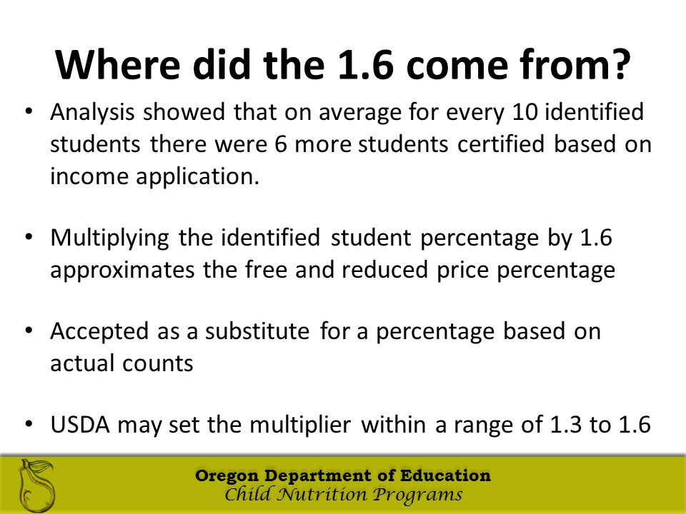 Oregon Department of Education Child Nutrition Programs Oregon Department of Education Child Nutrition Programs Oregon Department of Education Child Nutrition Programs Oregon Department of Education Child Nutrition Programs Where did the 1.6 come from.