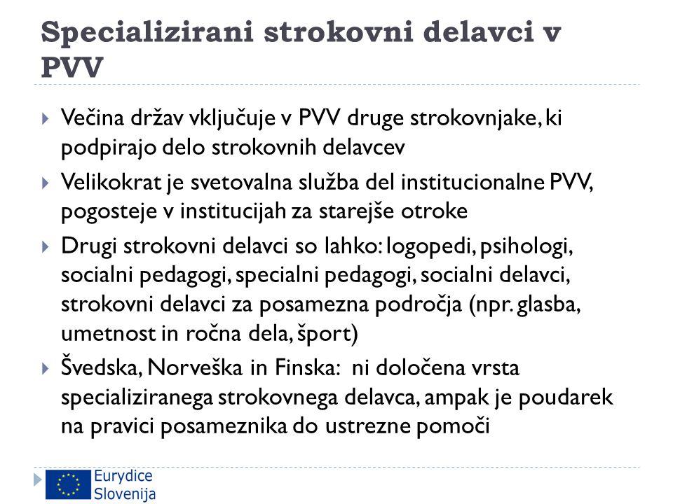 Specializirani strokovni delavci v PVV  Večina držav vključuje v PVV druge strokovnjake, ki podpirajo delo strokovnih delavcev  Velikokrat je svetov