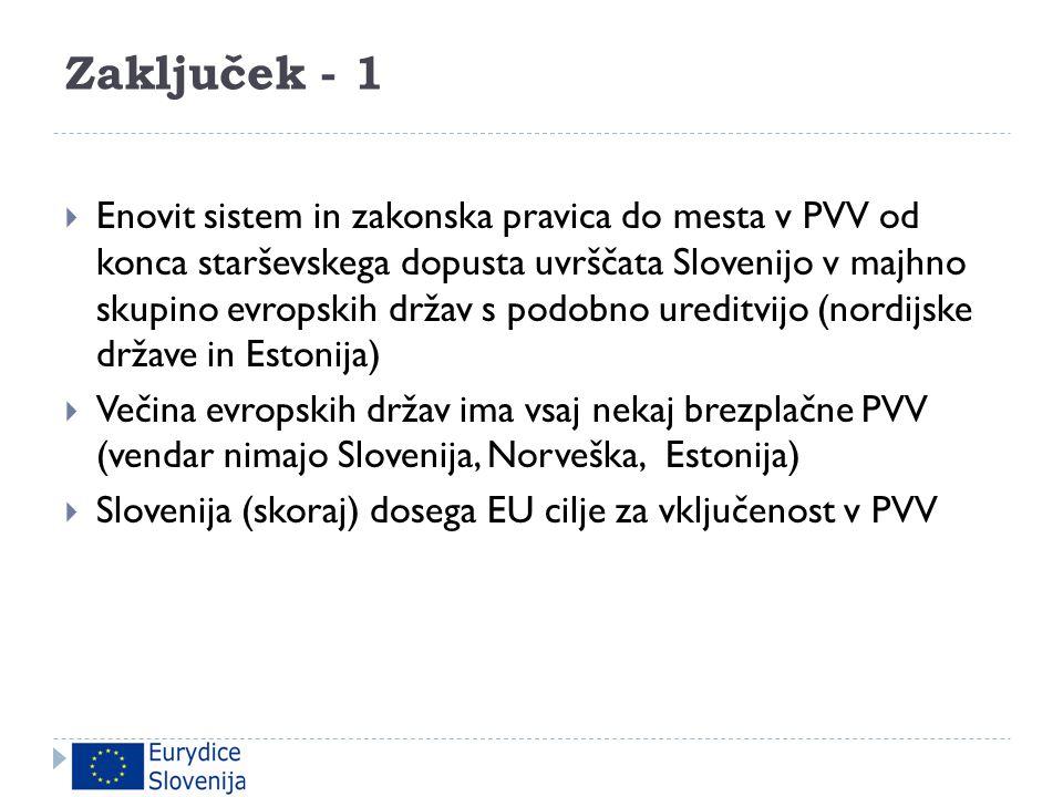 Zaključek - 1  Enovit sistem in zakonska pravica do mesta v PVV od konca starševskega dopusta uvrščata Slovenijo v majhno skupino evropskih držav s p