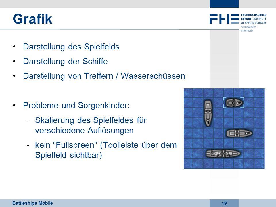 Battleships Mobile 19 Grafik Darstellung des Spielfelds Darstellung der Schiffe Darstellung von Treffern / Wasserschüssen Probleme und Sorgenkinder: -Skalierung des Spielfeldes für verschiedene Auflösungen -kein Fullscreen (Toolleiste über dem Spielfeld sichtbar)