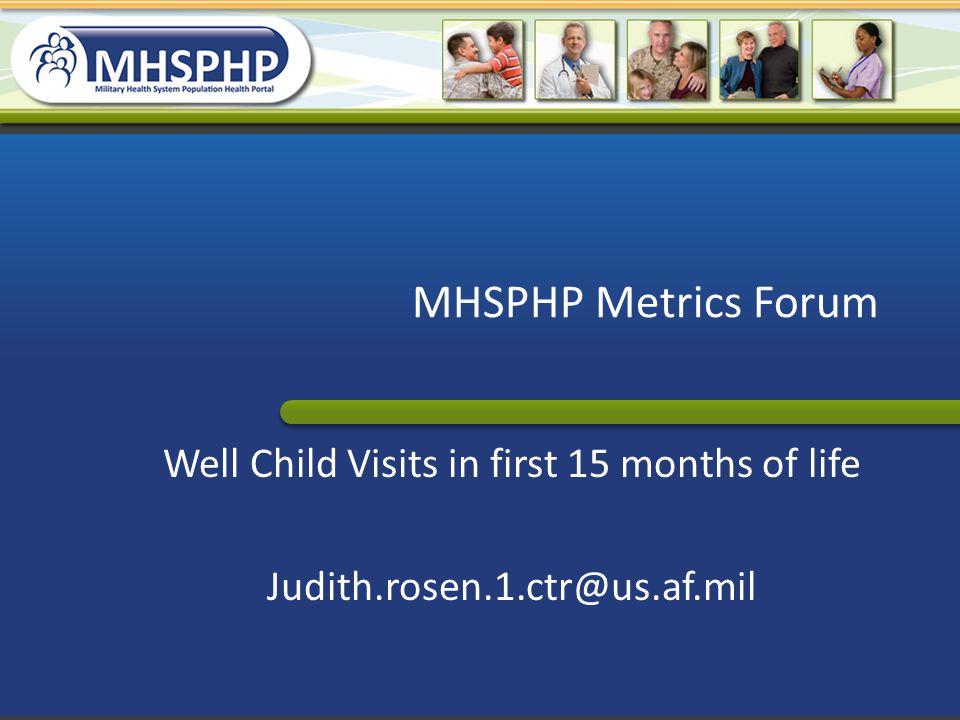 MHSPHP Metrics Forum Well Child Visits in first 15 months of life Judith.rosen.1.ctr@us.af.mil