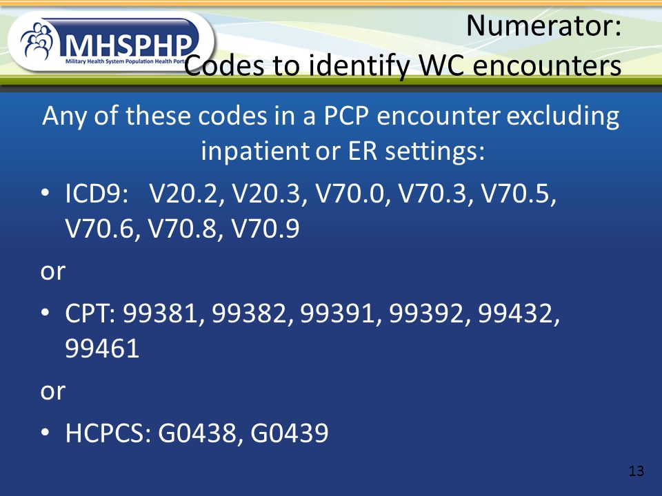 Numerator: Codes to identify WC encounters Any of these codes in a PCP encounter excluding inpatient or ER settings: ICD9: V20.2, V20.3, V70.0, V70.3,