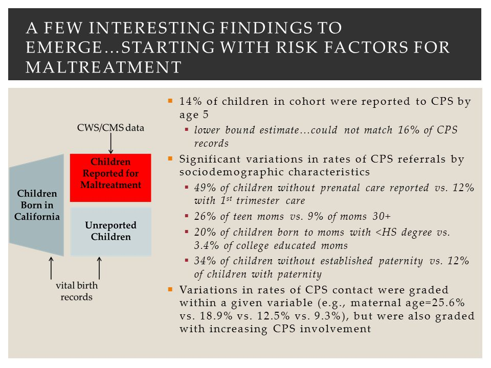  14% of children in cohort were reported to CPS by age 5  lower bound estimate…could not match 16% of CPS records  Significant variations in rates