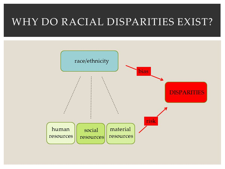 WHY DO RACIAL DISPARITIES EXIST? race/ethnicity human resources social resources material resources DISPARITIES bias risk