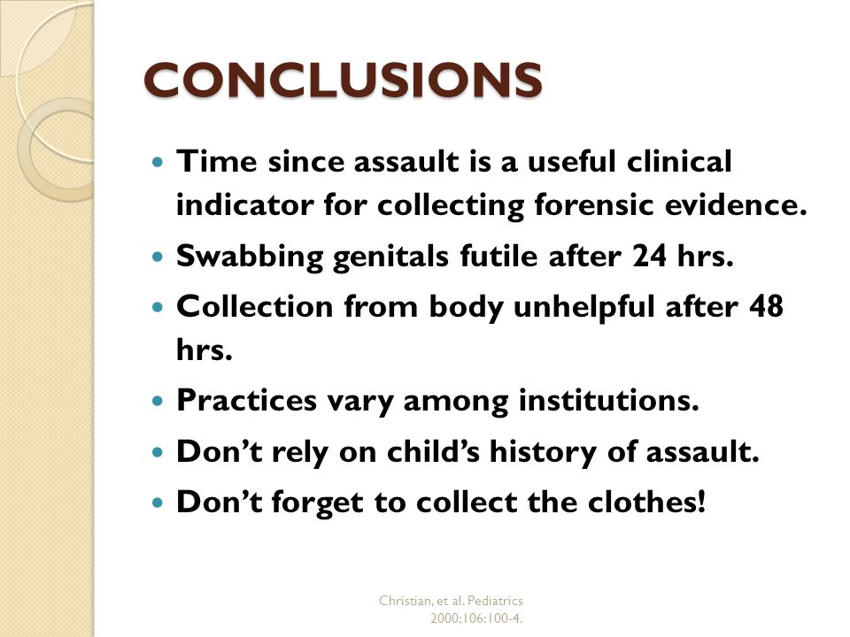 Christian, et al. Pediatrics 2000;106:100-4.