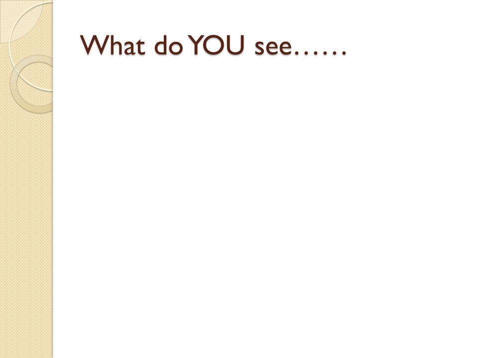What do YOU see……