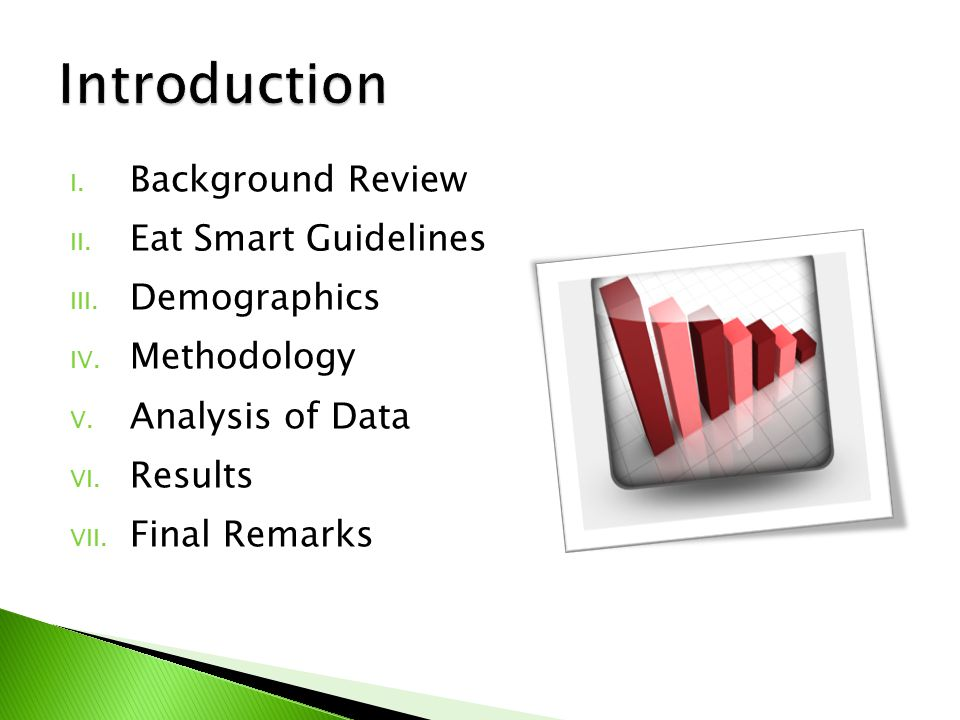 I. Background Review II. Eat Smart Guidelines III.
