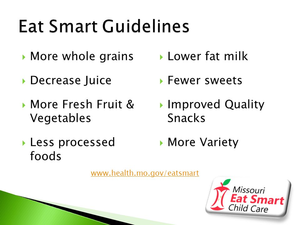  Eat Smart Mini-Grants Awarded  Grant Requirements ◦ Pre- & Post- Nutrition Assessment Submitted ◦ Apply for Recognition ◦ Attend 3 Hour Training or On-Line Training